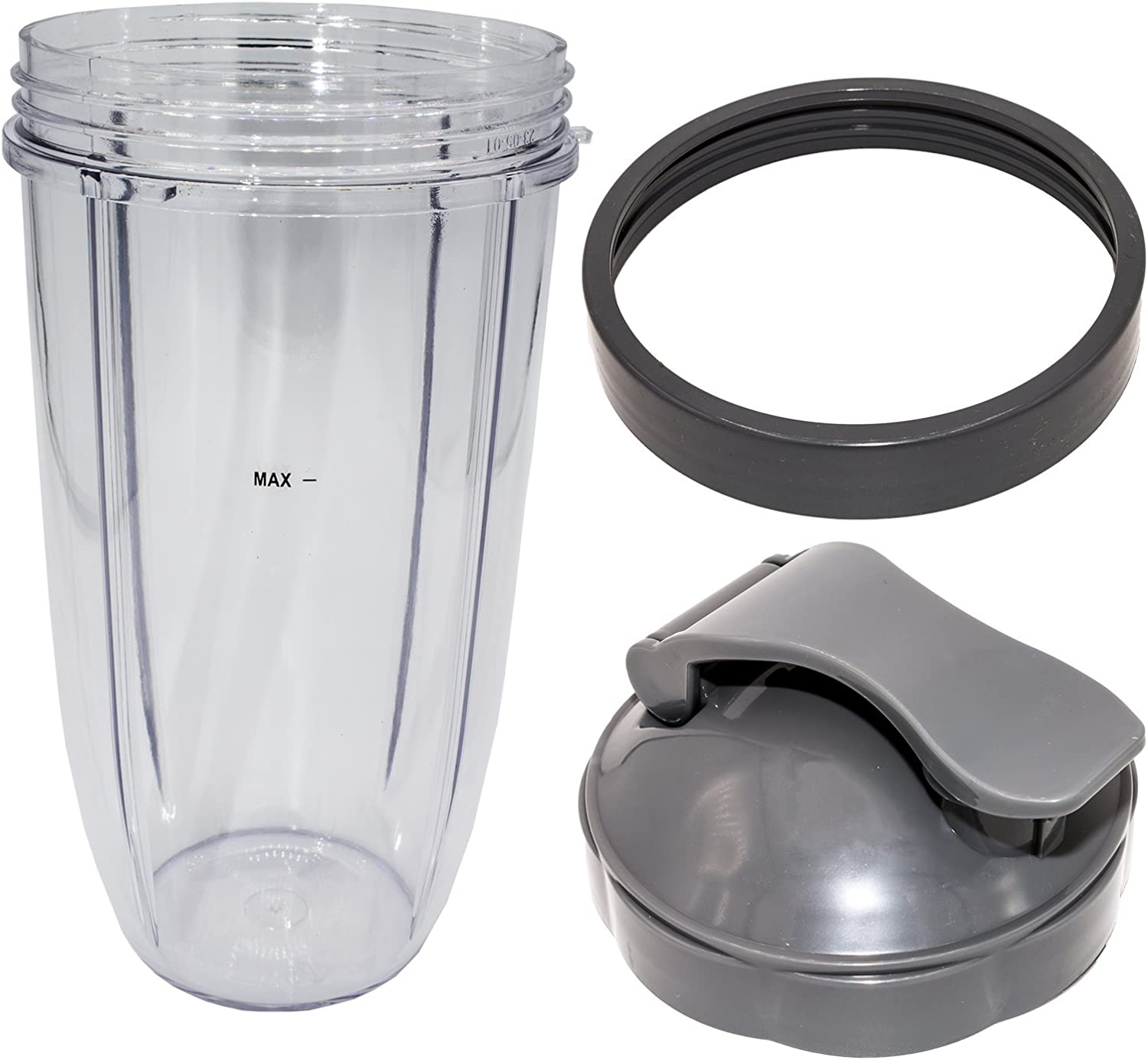 Blendin 32 Ounce Large Cup with Flip Top To-Go Lid and Jar Lip Ring, Compatible with Nutribullet 600W 900W Blender Juicer