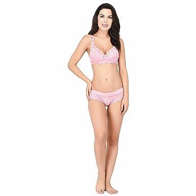 d9f04e1135 Elina Women s Cotton Lycra Bra and Panty Set (Set of 1)  Amazon.in ...