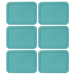 Pyrex 7210-PC 3 Cup Turquoise Rectangle Plastic Food Storage Lid - 6 Pack