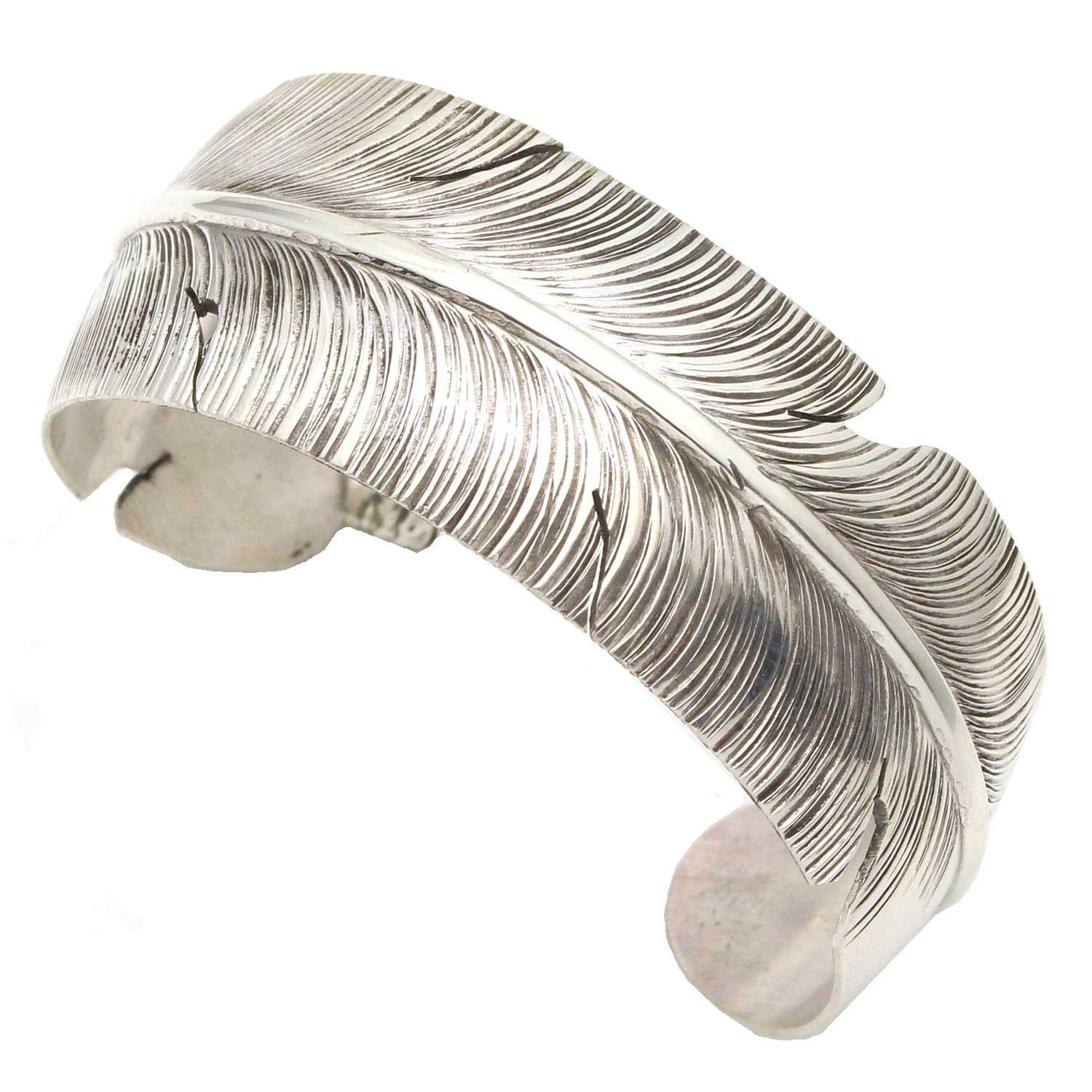 L7 Trading Navajo Sterling Silver Feather Bracelet by Ben Begay | 5 1/2'' tip to tip (Fits a Wrist of up to 6 7/8'' in Circumference)