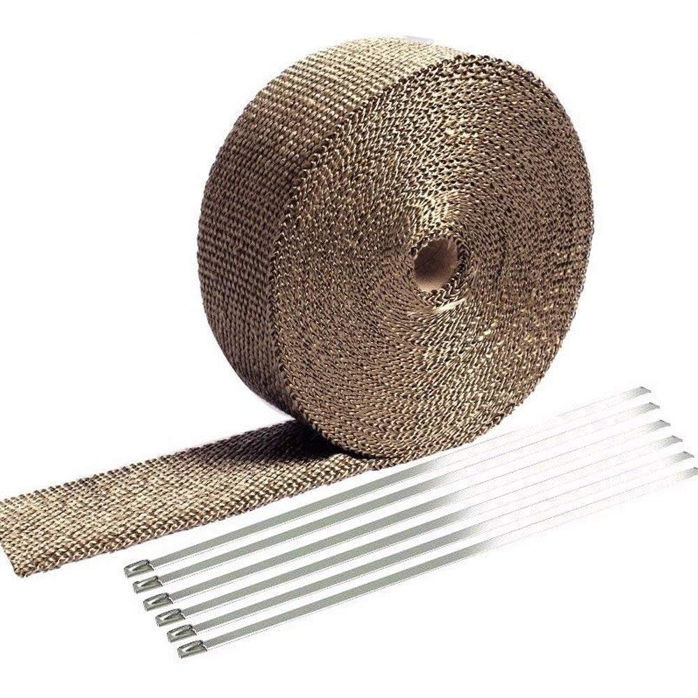 Lovingvs Exhaust Heat Wrap, 2' x 50' Titanium Header Shield Wrap Tape Kit for Automotive Car Motorcycle with 8 Stainless Ties 2 x 50' Titanium Header Shield Wrap Tape Kit for Automotive Car Motorcycle with 8 Stainless Ties