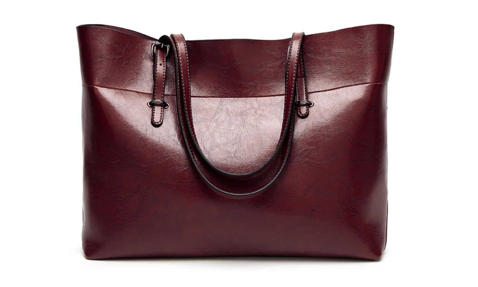 Women's Vintage Fine Fibre Genuine Leather Bag Tote Shoulder Bag Handbag Model Sie Coffee