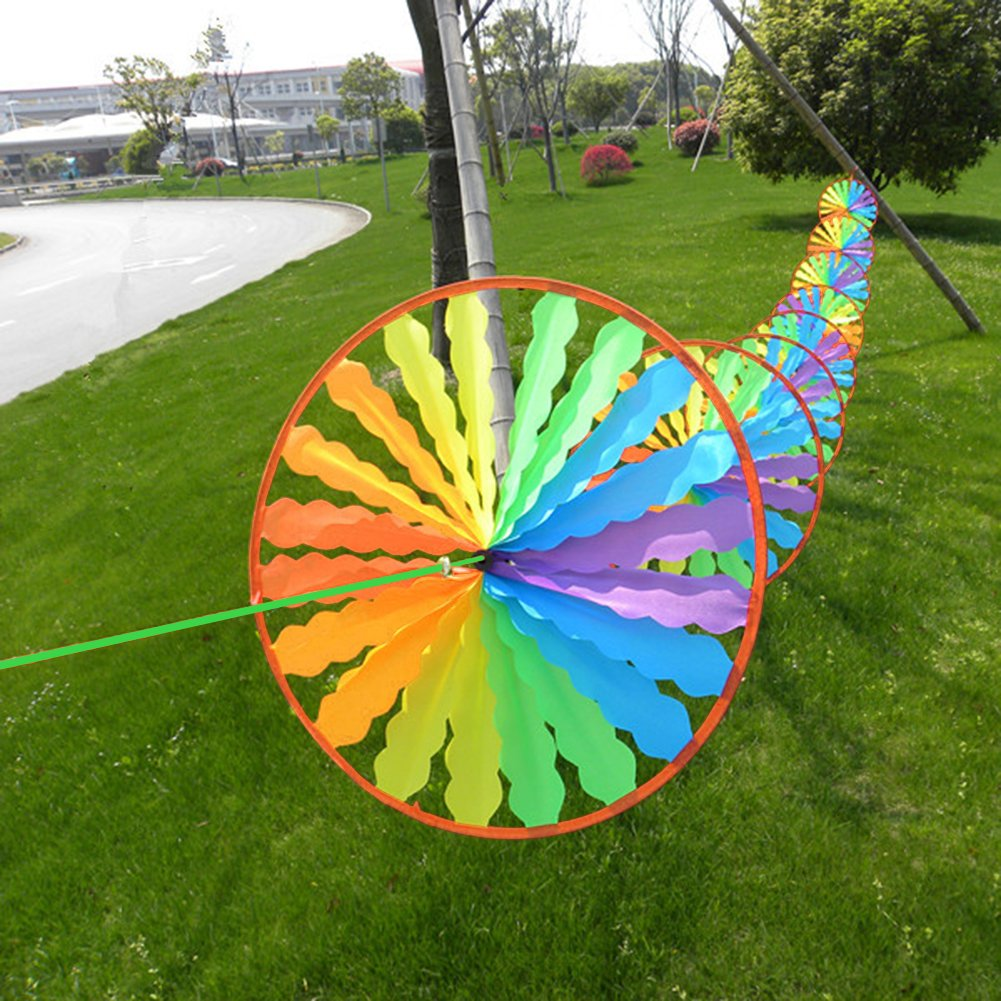 Dairyshop 8pcs Rainbow Wheel Windmill Wind Spinner Whirligig Garden Home Lawn Yard Decoration