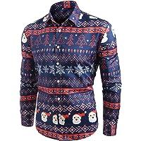 CharMma Men's Long Sleeves Snowflakes Santa Candy Printed Christmas Shirt