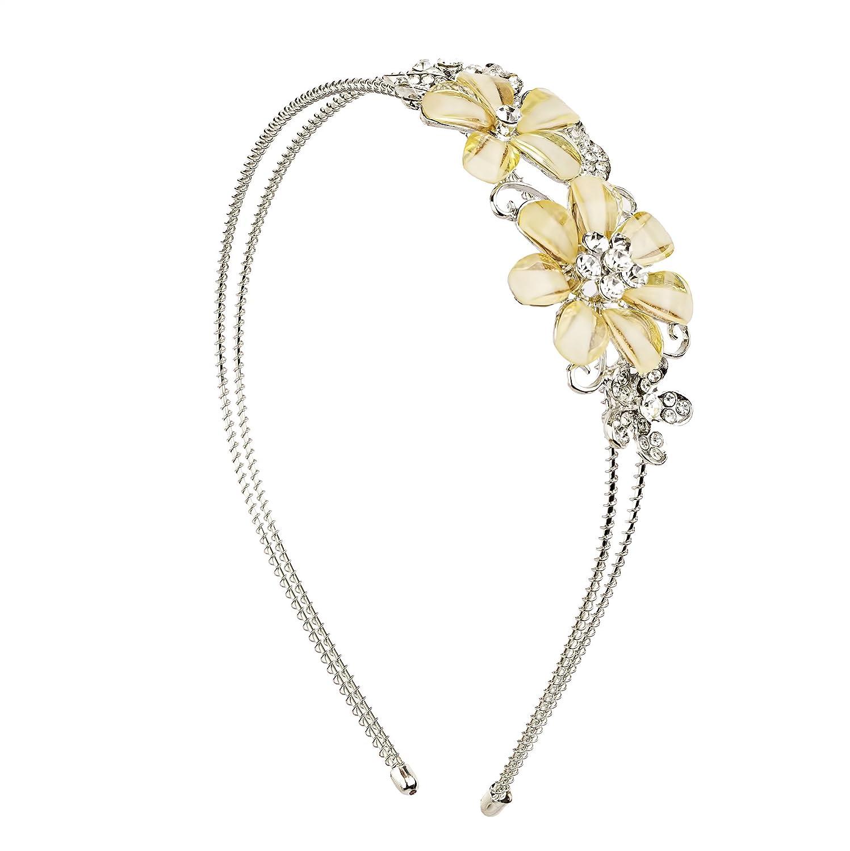 Lux Accessories Dual Floral Flower Pave Imitation Pearl Bridal Bride Wedding Bridesmaid Stretch Metal Headband H42680-1-H317