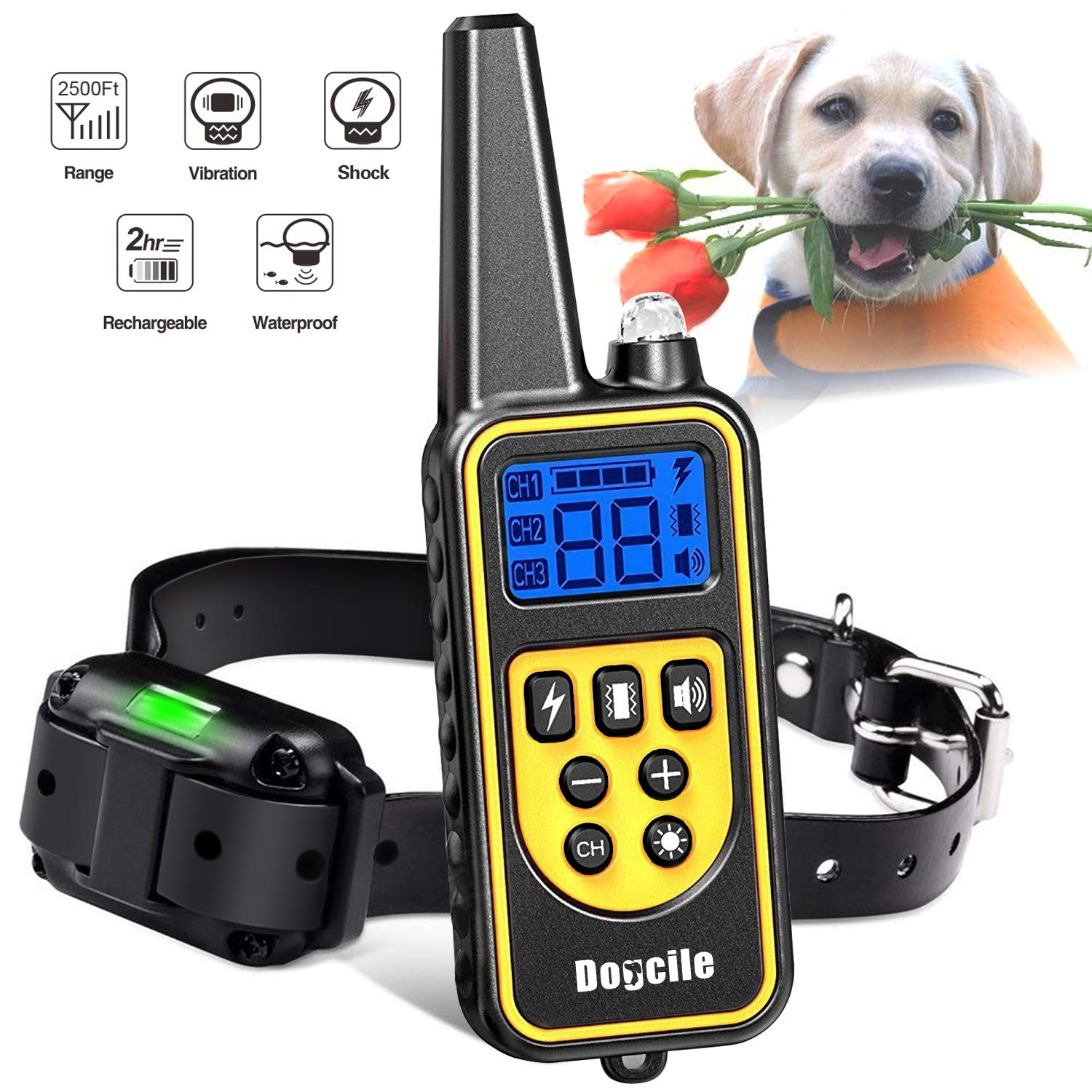 YISENCE Shock Collar for Dogs, Dog Shock Collar with Remote 2500FT Range, Waterproof and Rechargeable, Beep, Vibrate and Shock, Dog Training Collar with Remote