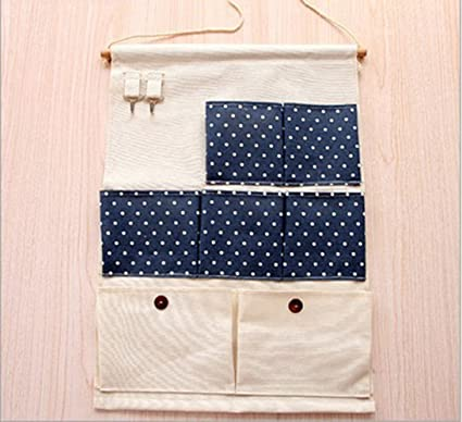 Addfun Wall Pouch,Cotton Fabric Wall Door Closet Hanging Storage Bag With 7  Pockets And