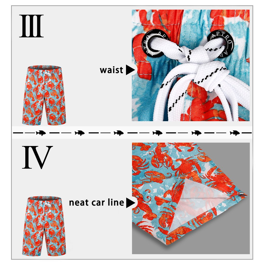 APTRO Men's Swim Trunks Crab Printing Bathing Suit #HW016 XXL by APTRO (Image #4)