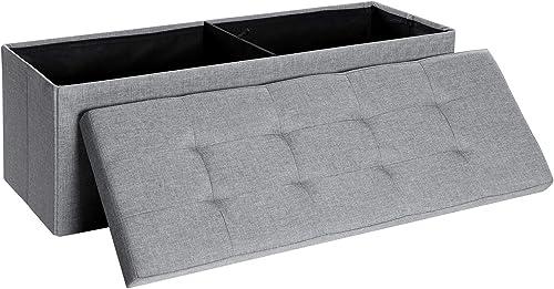 SONGMICS Folding Storage Ottoman Bench