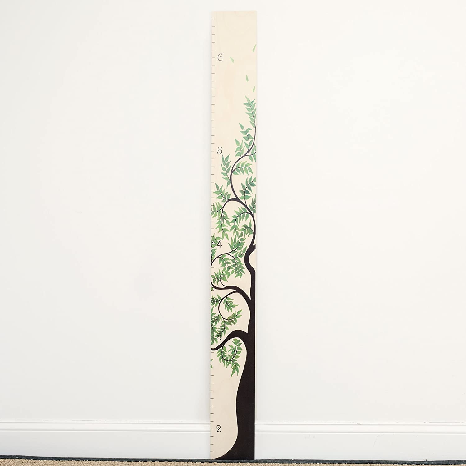 Growth Chart Art Green Leaf Height Ruler Wooden Tree of Life Growth Chart for Kids Boys /& Girls