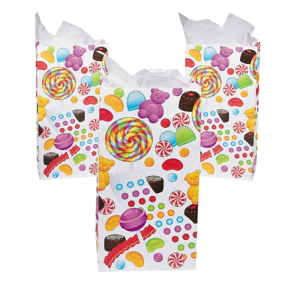 12 Candy Candyland Sweet Treat favor bags paper sacks Birthday party decoration