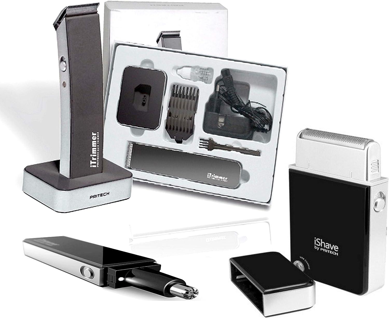 Pritech - Kit de afeitadora de alta gama + cortapelos para barba + ...