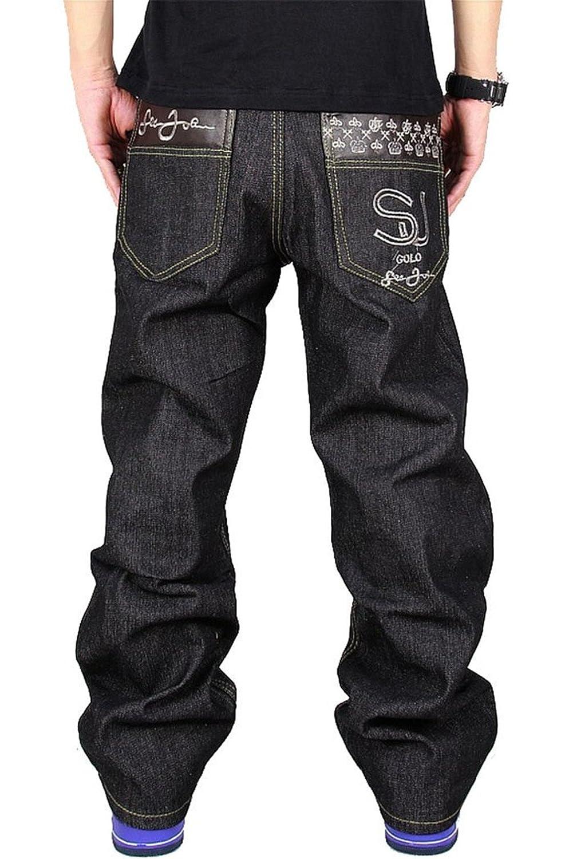 Yollmart Mens Hip Hop Embroidered Baggy Loose Denim Pants Jeans