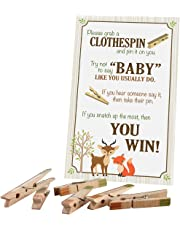 """Lillian Rose 24BS230 CG Woodland Clothespin Baby Shower Game, Neutral, 11.25""""x 6"""""""