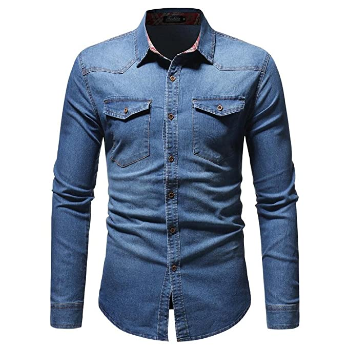 11383338f4 Camisas Denim Hombre