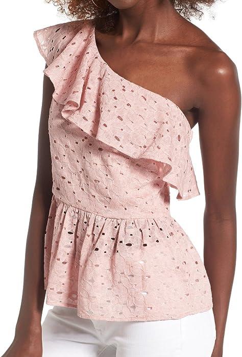 5373bfaa3d6 J.O.A. Womens Medium Eyelet One-Shoulder Knit Blouse Pink M at Amazon Women's  Clothing store: