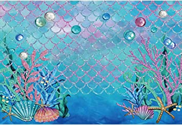 Underwater 8x10 FT Photo Backdrops,Mermaid Rescues Flight of Dolphins from a Fishing Net Freedom Diver Artwork Print Background for Baby Birthday Party Wedding Vinyl Studio Props Photography Blue