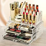 Flexzion Makeup Organizer - Cosmetic Jewelry Box Storage Holder Case Container Acrylic Display 2 Pieces Set - 20 Sections with 4 Drawers Space-Saving, Great for Lipsticks, Liners, Brushes