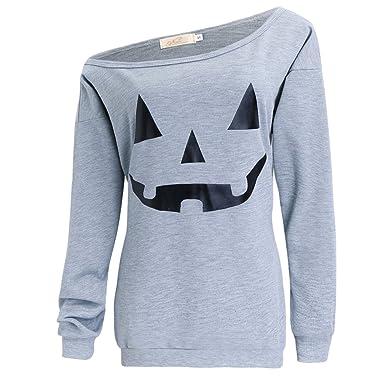 dad2a283a LYXIOF Women Halloween Pumpkin Sweatshirts Off Shoulder Sweatshirt ...
