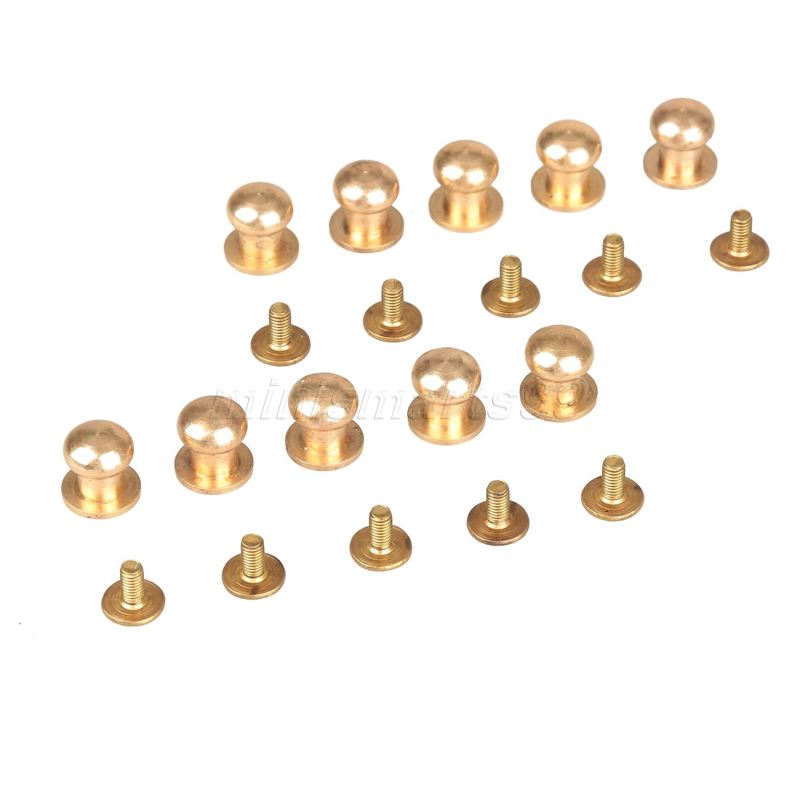 Cacys Store - 10pcs 7mm Solid Brass Belt Bag Screw Rivet Knob Round Button Chicago Screw In Button Studs Leather Craft Accessories