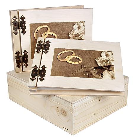 Madera Libro Juego grueso 50 Madera álbum libro de visitas Caja como Juego para bodas