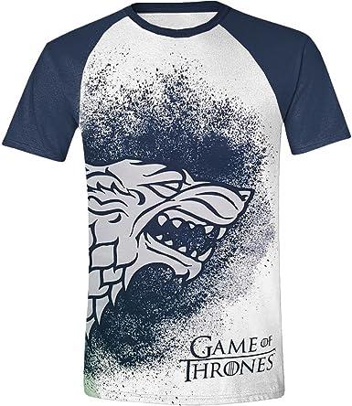 Juego de Tronos Painted Stark Raglan Camiseta blanco-azul S: Amazon.es: Libros