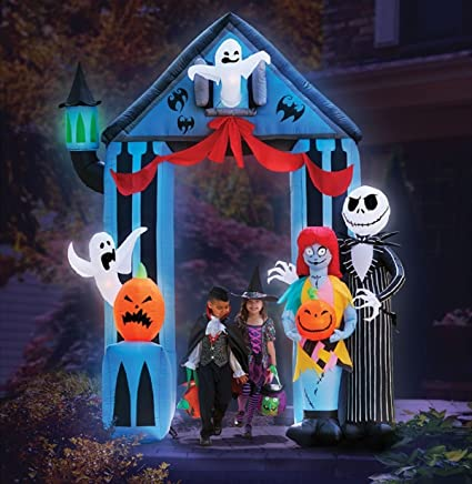 gemmy halloween inflatable 9 nightmare before christmas archway with jack skellington sally claws airblown - Disney Christmas Yard Decorations