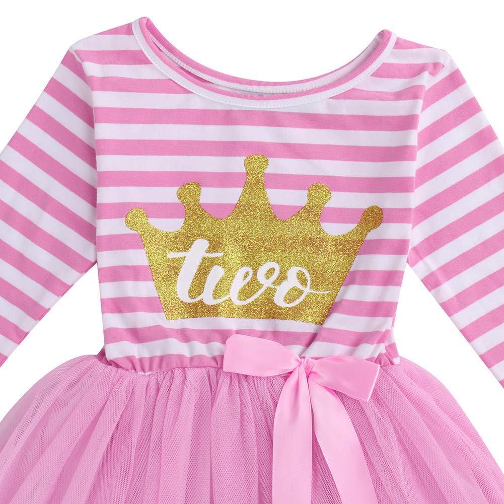 Crown Tiara Hat Headband Cake Smash Shiny Printed Striped Tulle Tutu Dress Party Outfit Clothes Photo Props IWEMEK Baby Girls Toddler Kids Princess Long Sleeve 1st//2nd//3rd Birthday Dress