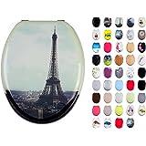 MSV 140570 Abattant WC Motif Paris MDF/Inox 42,5 x 36,5 x 1,6 cm