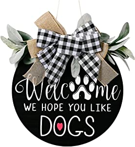 Welcome Sign for Front Door, 12 inch Welcome Wreath Front Door Décor for Home, Wooden Door Hanging Sign with Premium Greenery for Front Door, Restaurant, Spring, Fall Farmhouse Décor for Front Porch
