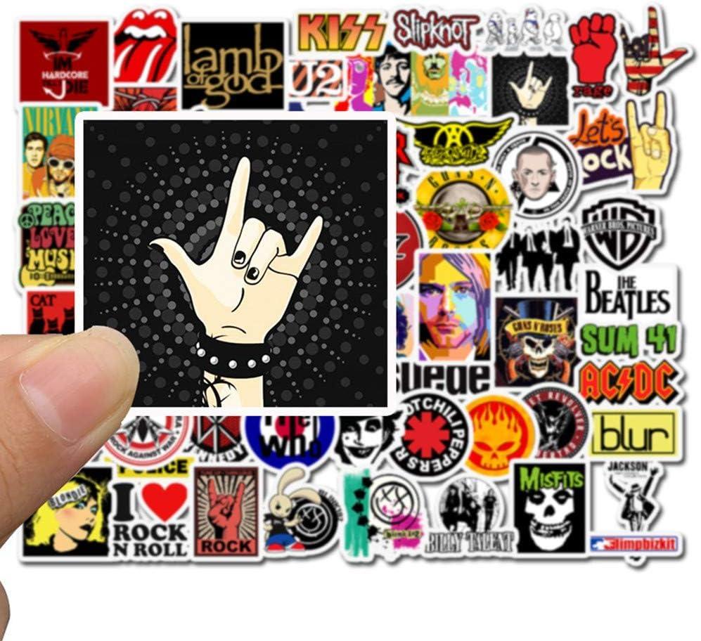 NEULEBEN Band Aufkleber 100 St/ück RocknRoll Musik Aufkleber elektronische Orgel Gep/äck Graffiti Decals Personalisieren Helm Vinyl wasserdicht Aufkleber f/ür Laptop Skateboard Gitarre Klavier
