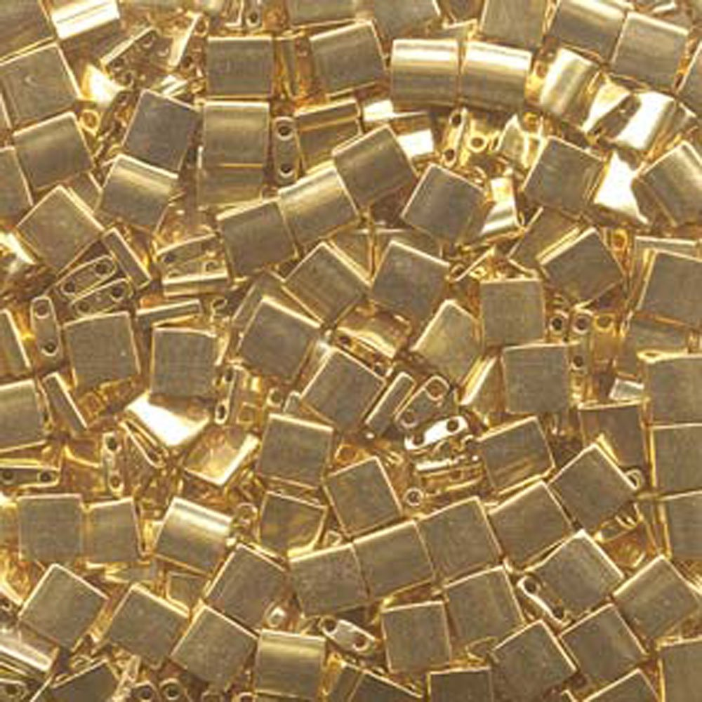 24Kt Gold Plated Tila Beads 7.2 Gram Tube By Miyuki Are a 2 Hole Flat Square Seed Bead 5x5mm 1.9mm Thick with .8mm Holes