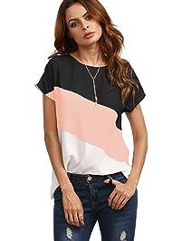 Romwe Women\u0027s Color Block Blouse Short Sleeve Casual Tee Shirts Tunic Tops