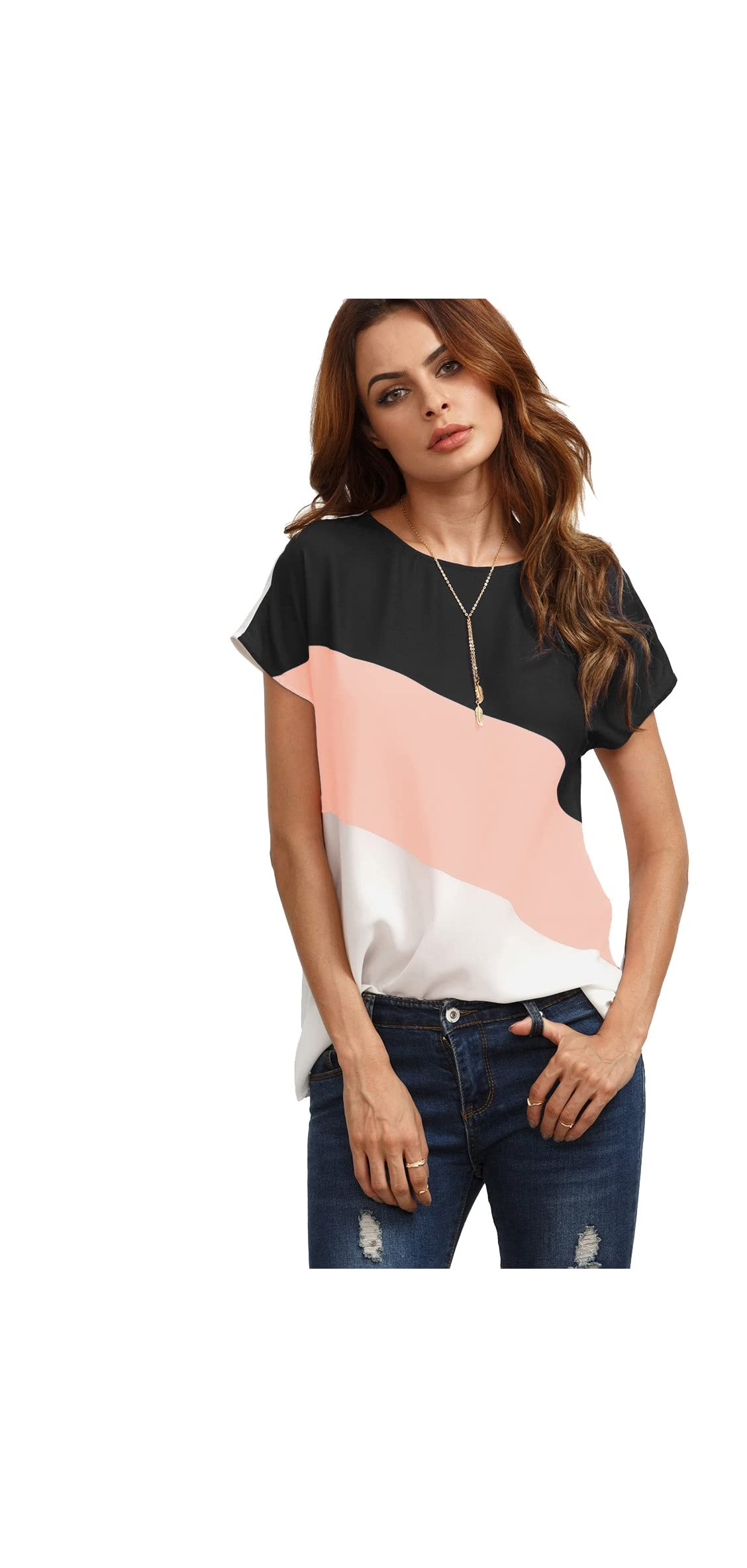 Women's Color Block Blouse Short Sleeve Casual Tee Shirts