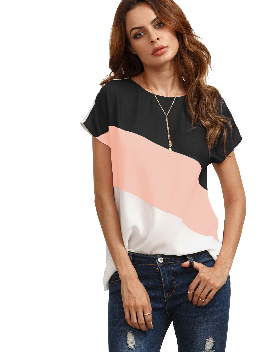 Romwe Women's Color Block Blouse Short Sleeve Casual Tee Shirts Tunic Tops Pink S