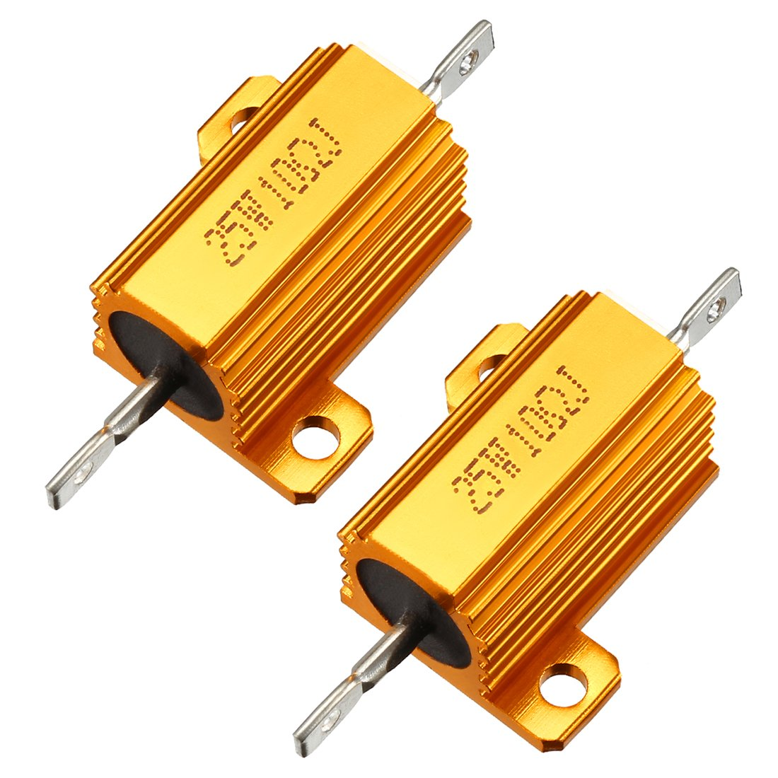 uxcell 25W 15 Ohm 5/% Aluminum Housing Resistor Screw Tap Chassis Mounted Aluminum Case Wirewound Resistor Load Resistors Gold Tone 2 pcs