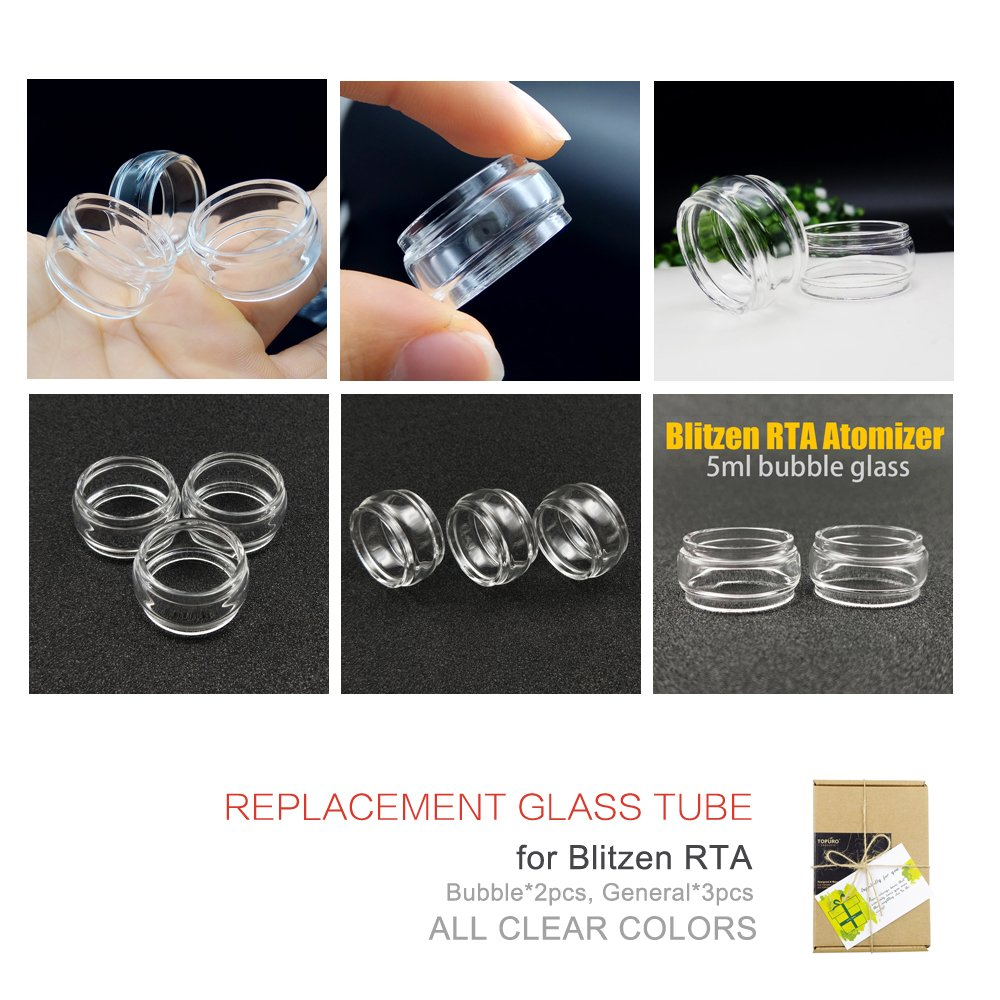 5 Pack Topuro Blitzen Rta Bubble Replacement Pyrex Glass