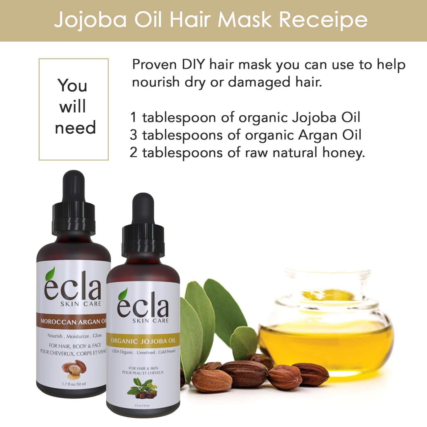 Jojoba Oil Golden Organic Cold Pressed - for Face Hair Nails and Cuticles Hexane-Free USDA Certified (2 oz - 60ml) Best Moisturizer for Sensitive and Acne Skin. Reduce Rosacea signs and Psoriasis