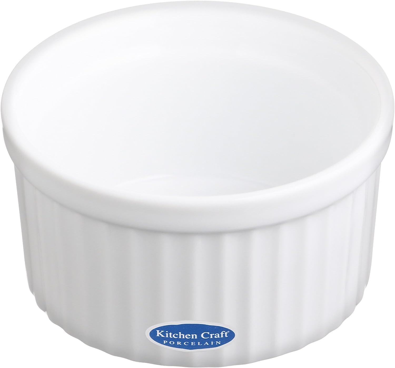 Kitchen Craft Auflauff/örmchen Porzellan gro/ß Wellenrand 90x45 mm wei/ß