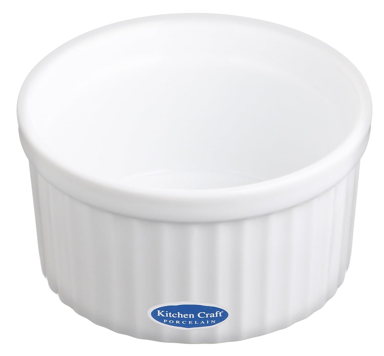 Kitchen Craft Auflaufförmchen Porzellan groß Wellenrand 90x45 mm weiß