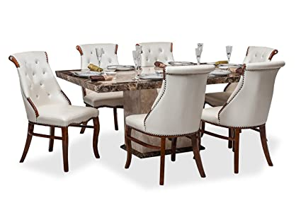 Durian Siberian Dinning Set Six Seater Dining Table Set (Cream)