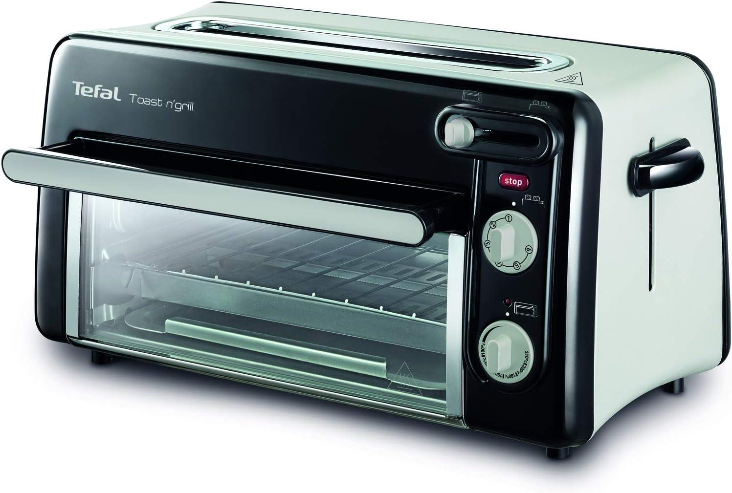 Tefal Toast & Grill TL6008 - Tostador y horno, 2 en 1, potencia 1300 W, 1 ranura larga, temporizador 10 min, termostato regulable hasta 220 C, Incluye libro de recetas, bandeja recogemigas