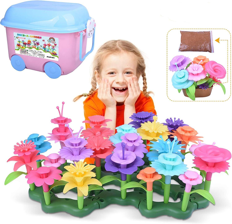 kuman Flower Garden Building Set 151 PCS Creative DIY Garden Bouquet Building Blocks, Educational Toys Birthday Giftsfor 3,4,5,6,7 Years Old Kids