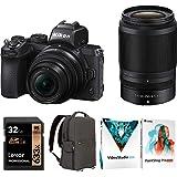 Nikon Z50 DX Mirrorless Camera w/NIKKOR Z DX 16-50mm & 50-250mm VR Lens - (Renewed) Bundle with 32GB SDHC UHS-1 Class 10…