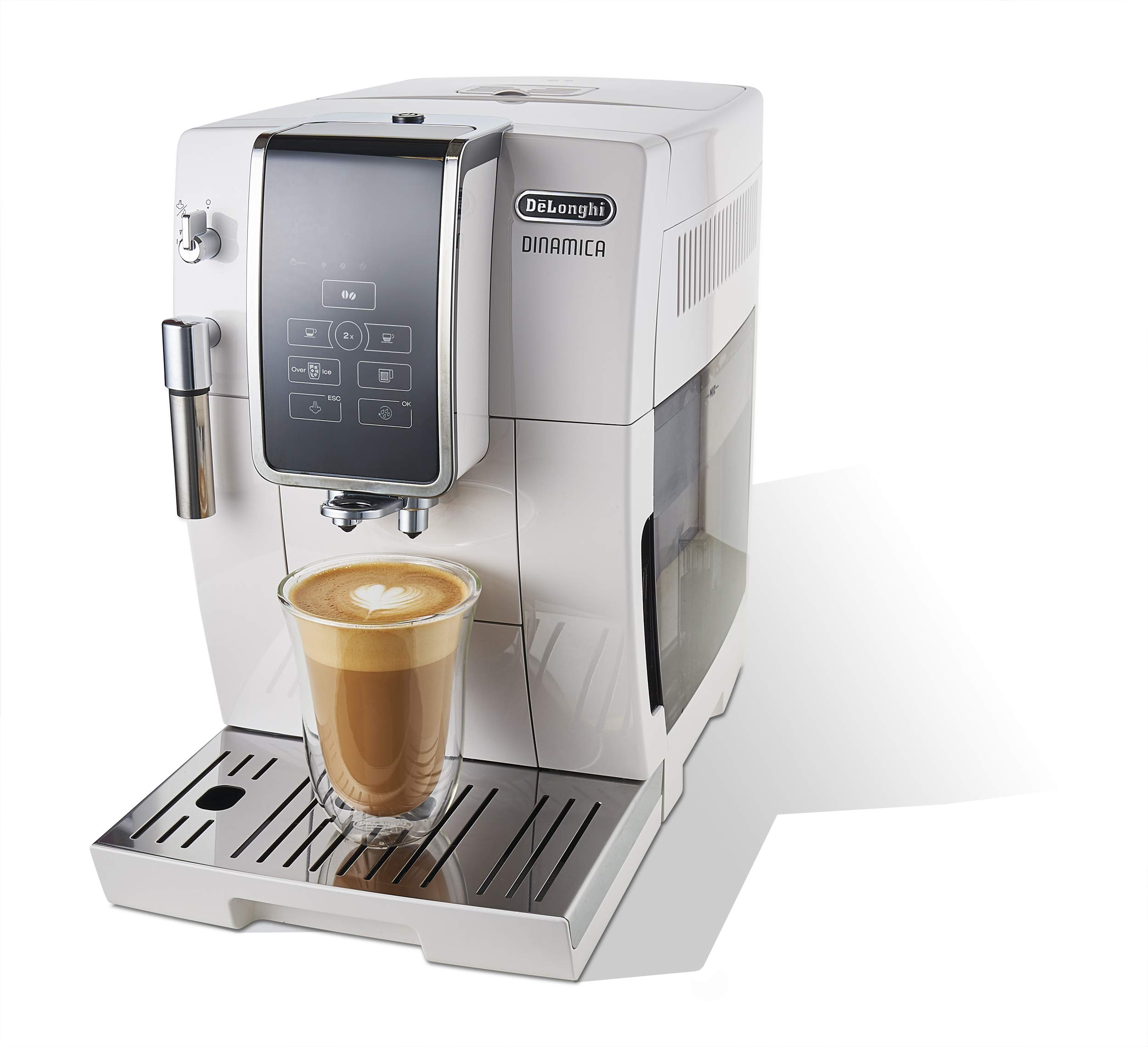 De'Longhi Dinamica Automatic Coffee & Espresso Machine TrueBrew (Iced-Coffee), Burr Grinder + Descaling Solution, Cleaning Brush & Bean Shaped Icecube Tray, White, ECAM35020W by De'Longhi