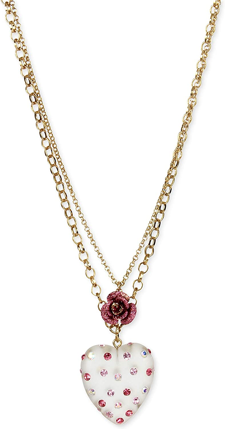 Betsey Johnson Womens Gold-Tone Confetti Lucite Heart and Rose 2-Layer Pendant Necklace