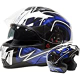 Adult Off Road Helmet DOT Dirt Bike Motocross ATV Motorcycle Offroad (Blue, XX-Large)