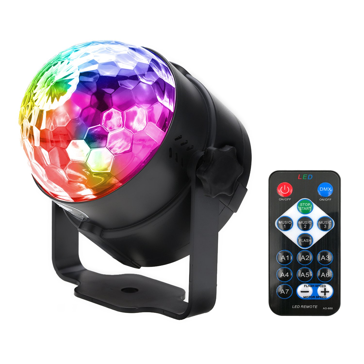 Sound Activated Disco Ball LED Strobe Light , RBG Disco Ball, Portable Strobe Lamp 7 Modes Stage Par Light for Home Room Dance Parties Birthday DJ Bar Karaoke Xmas Wedding Show Club Pub with Remote by WINSAFE