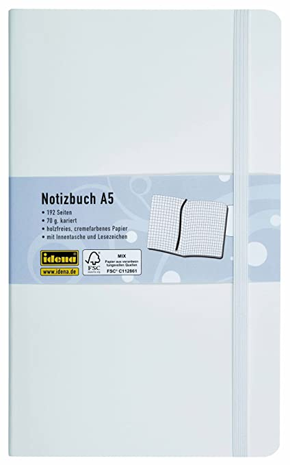 "Idena 209548 ""flexi-carnet de notes format a5, 192 pages, 70 g/m², quadrillé, blanc"