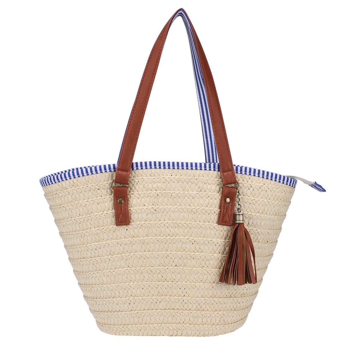 Sornean Summer Straw Beach Bag Handbags Shoulder Bag Tote,cotton lining,Top Leather Handle-Eco Friendly (Off white Medium)